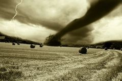 Tornado incoming from horizon Royalty Free Stock Photo