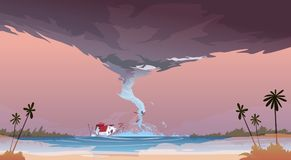 Tornado Incoming From Sea Hurricane In Ocean Beach Landscape Of Storm. Twister Natural Disaster Concept Flat Vector Illustration stock illustration