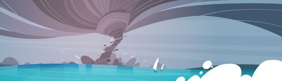 Tornado Incoming From Sea Hurricane In Ocean Beach Landscape Of Storm Twister. Natural Disaster Concept Flat Vector Illustration royalty free illustration