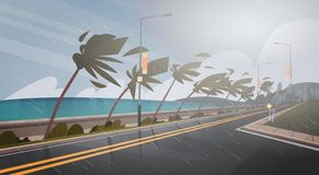 Tornado Incoming From Sea Hurricane In Ocean Huge Wind Over Palm Trees And Road Tropical Natural Disaster Concept Stock Image