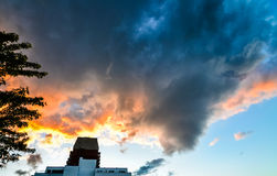 Tornado like cloud over Montreal at sunset royalty free stock photo