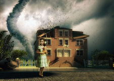 Tornado and little girl Royalty Free Stock Image