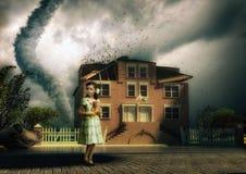 Tornado and little girl vector illustration