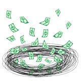 Tornado money. Creative draw of tornado money Royalty Free Stock Images