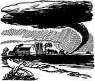 Tornado-nähernder Bauernhof Stockbilder