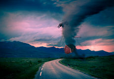 Tornado next to road Royalty Free Stock Photography