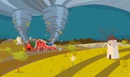 Tornado Niszczy Rolnego Huragan krajobraz royalty ilustracja