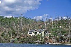Tornado in North Georgia. CLAYTON, GA, USA, APRIL 28 :  Tornado damage on Lake Burton on April 28, 2011, in Rabun County, Clayton, GA.  Extensive damage to many Royalty Free Stock Images