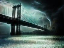 Tornado NYC NY. Tornado NYC Illustration. Manhattan Bridge Royalty Free Stock Images
