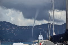 Tornado in Portofino. Tornado seen in the coast of Portofino, Italy Stock Photo