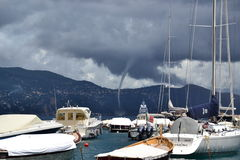 Tornado in Portofino. Tornado seen in the coast of Portofino, Italy Royalty Free Stock Photo