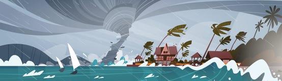 Tornado Przybywający Od Dennego Huragan W ocean Ogromnych fala Na domach Na Brzegowym Tropikalnym katastrofy naturalnej pojęciu royalty ilustracja