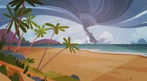 Tornado Przybywający Od Dennego Huragan W ocean plaży krajobrazie ilustracja wektor