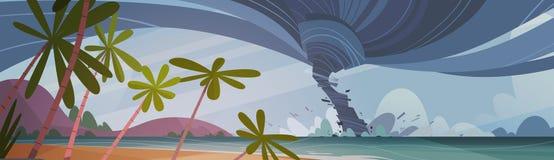 Tornado Przybywający Od Dennego Huragan W ocean plaży krajobrazie burzy skręcarka royalty ilustracja