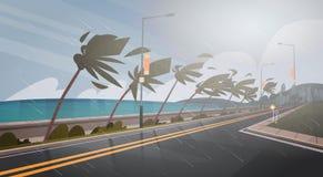 Tornado Przybywający Od Dennego Huragan W oceanu Ogromnym wiatrze Nad drzewkami palmowymi I Drogowym Tropikalnym katastrofy natur royalty ilustracja