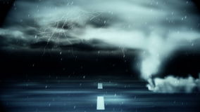 Tornado que sopla sobre el camino durante tormenta ilustración del vector
