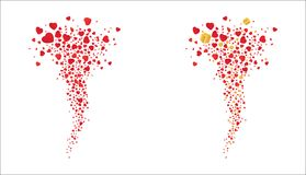 Tornado of red flying hearts and golden gifts on a white background. Vector Stock Photo
