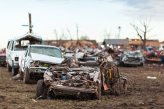 Tornado schädigende Nachbarschaft Lizenzfreie Stockfotos