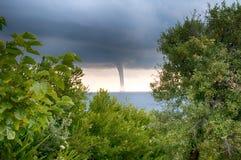Tornado sopra il mare Fotografia Stock
