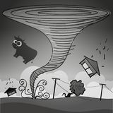 Tornado storm hit the town. Vector illustration Stock Photography