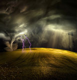 Tornado in stormy landscape Royalty Free Stock Photos