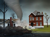 Tornado Strikes. Digital painting of a deadly tornado destroying houses in the Midwest Stock Image