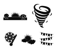 Tornado, sunrise, cloudiness, snow and frost. The weather set collection icons in black style vector symbol stock. Illustration Stock Photo