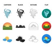 Tornado, sunrise, cloudiness, snow and frost. The weather set collection icons in cartoon,black,outline,flat style. Vector symbol stock illustration Stock Image