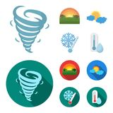 Tornado, sunrise, cloudiness, snow and frost. The weather set collection icons in cartoon,flat style vector symbol stock. Illustration Stock Photography