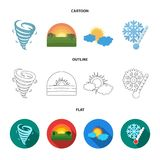 Tornado, sunrise, cloudiness, snow and frost. The weather set collection icons in cartoon,outline,flat style vector. Symbol stock illustration Royalty Free Stock Photo
