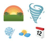 Tornado, sunrise, cloudiness, snow and frost. The weather set collection icons in cartoon style vector symbol stock. Illustration Stock Photography