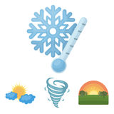 Tornado, sunrise, cloudiness, snow and frost. The weather set collection icons in cartoon style vector symbol stock. Illustration Royalty Free Stock Photography