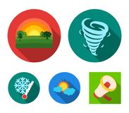 Tornado, sunrise, cloudiness, snow and frost. The weather set collection icons in flat style vector symbol stock. Illustration Stock Image