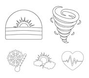 Tornado, sunrise, cloudiness, snow and frost. The weather set collection icons in outline style vector symbol stock. Illustration Stock Photos