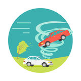Tornado Twisted Car, Ruined Everything. Vector Stock Image