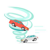 Tornado Twisted Car, Ruined Everything. Vector Stock Images