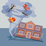 Tornado twisted cottage house, trees, car and pieces of furniture. Stock Photos