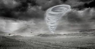Tornado twister geschilderd en donker landschap Royalty-vrije Stock Foto