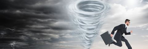 Tornado twister painted and dark sky with businessman running. Digital composite of Tornado twister painted and dark sky with businessman running Stock Photography