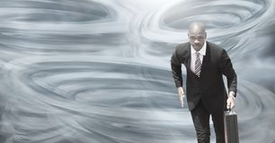 Tornado twisters painted and dark sky with businessman running vector illustration