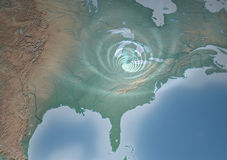 Tornado Usa map, that threatens Mid-West. Satellite view of a tornado, that threatens Mid-West, Ohio, Indiana, Illinois Stock Photography