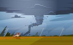 Tornado W wsi Huragan krajobrazie burzy skręcarka W polu royalty ilustracja