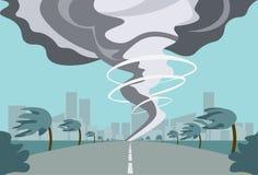 Tornado W wsi Huragan krajobrazie burzy Waterspout skręcarka W Śródpolnym katastrofy naturalnej pojęciu royalty ilustracja