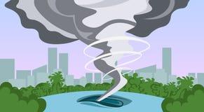 Tornado W wsi Huragan krajobrazie burzy Waterspout skręcarka W Śródpolnym katastrofy naturalnej pojęciu ilustracja wektor