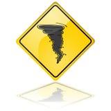 Tornado warning sign. Glossy illustration of a warning sign showing a tornado royalty free illustration