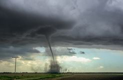 Strong tornado over the plains of eastern Colorado royalty free stock image