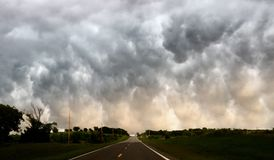 Tornado Weather. Low cloud storm strong winds I-35 near Ardmore, Oklahoma Royalty Free Stock Image