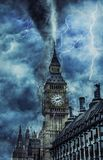 Tornado on Westminster Abbey - Dramatic Weather on City, tornado and lighting in England. Creative picture royalty free stock images
