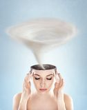 Tornado in woman's head Stock Image