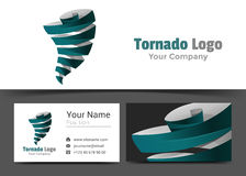 Tornadoes Corporate Logo and Business Card Sign Template. Creative Design with Colorful Logotype Visual Identity Composition Made of Multicolored Element Royalty Free Stock Photography